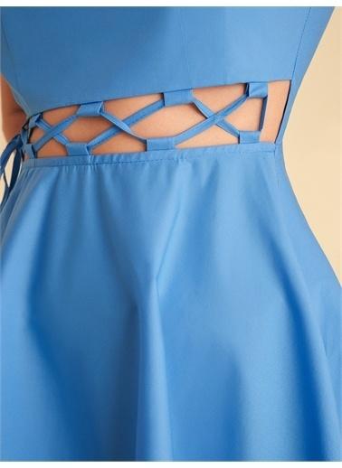 Nocturne Bağcık Detaylı Midi Boy Elbise Mavi